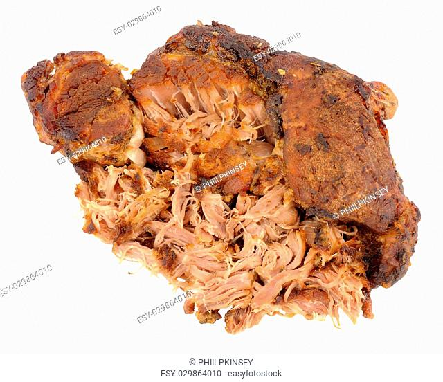 Slow cooked pulled pork meat isolated on a white background