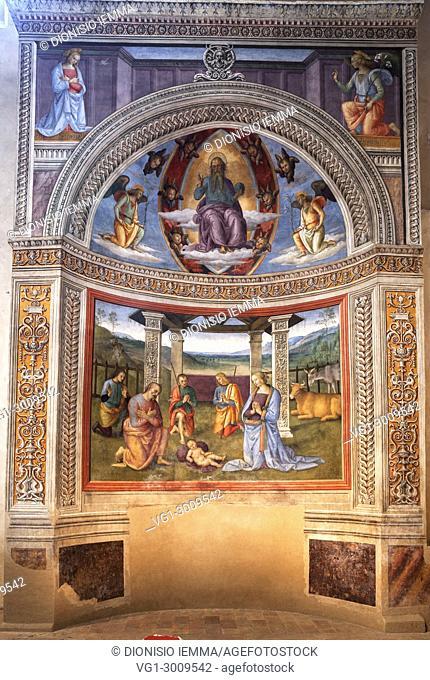 "Montefalco, district of Perugia, Umbria, Italy, Europe, church of San Francesco, kiosk frescoed by Pietro Vannucci called the """"Perugino"""""