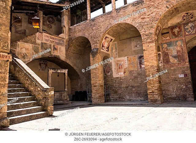 Inner court of the museum, Museo Civico, entrance to Torre Grosso, San Gimignano, Tuscany, Italy