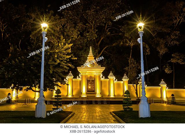 Night photograph of side gate of the Royal Palace in the capital city of Phnom Penh, Cambodia
