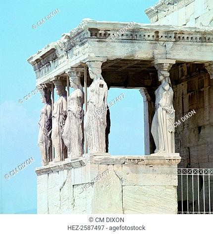 View of the Caryatid porch of the Erechtheion on the Acropolis in Athens, 5th century BC