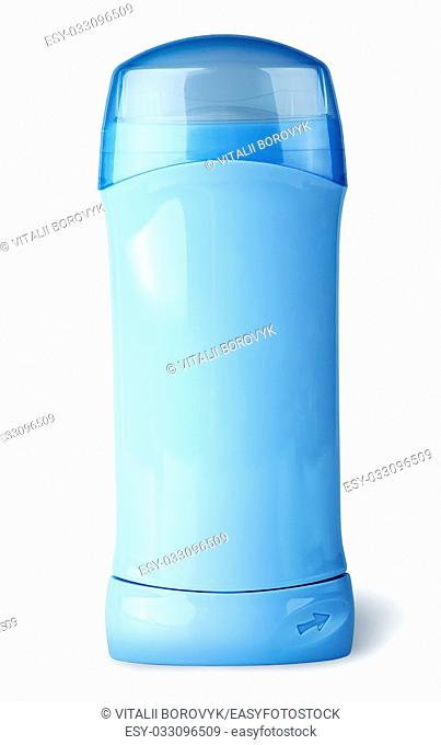 Blue deodorant container with cap isolated on white background