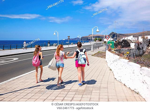 -Young girls walking in Agaete- Canary Island Spain