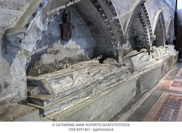 Carved tomb effigies of the Bishops of Hereford under arched canopies of stone, strewn with stone rosettes and portrait heads, Hereford Cathedral, Hereford