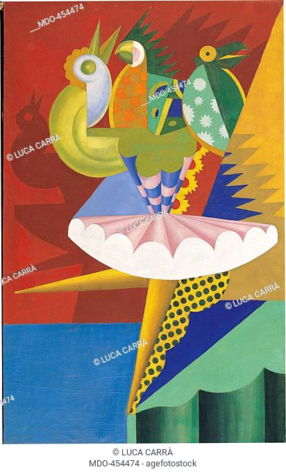 Rotation of Dancer and Parrots, by Fortunato Depero, 1917 - 1918, 20th Century, cm 140,5 x 89,5. Italy, Trentino Alto Adige, Trento, Rovereto, MART