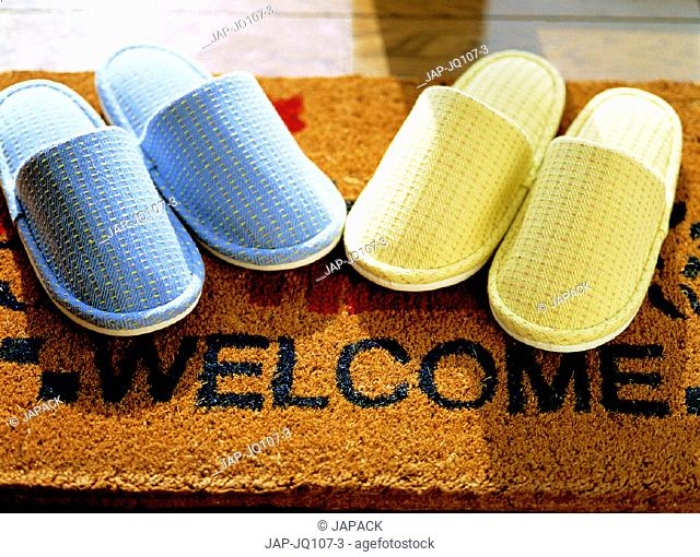 Welcome mat and slippers