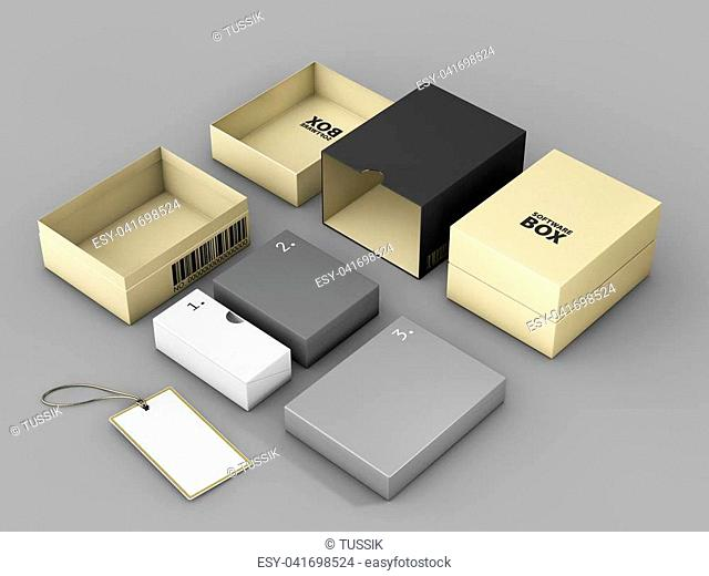 3d rendering of Golden Black Box with Label Mockup, Software package concept