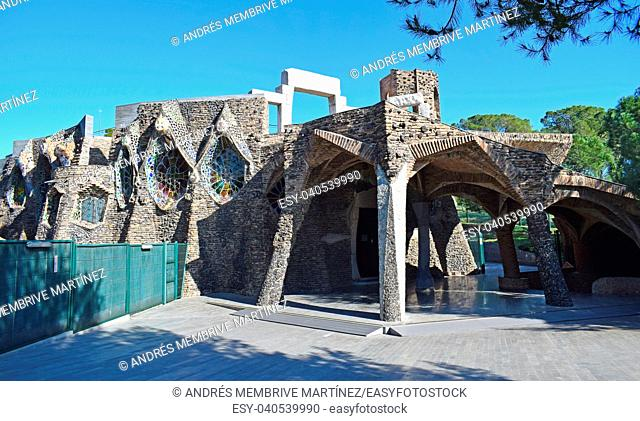 . . Crypt of the Colònia Güell, in the province of Barcelona