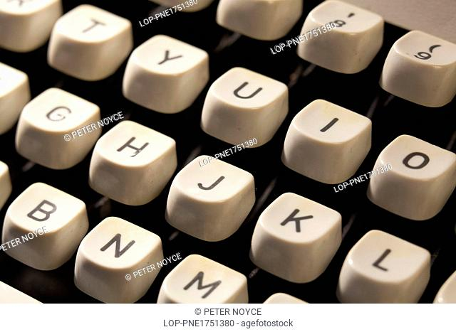 England, Hampshire, Waterlooville. Manual typewriter keys close up