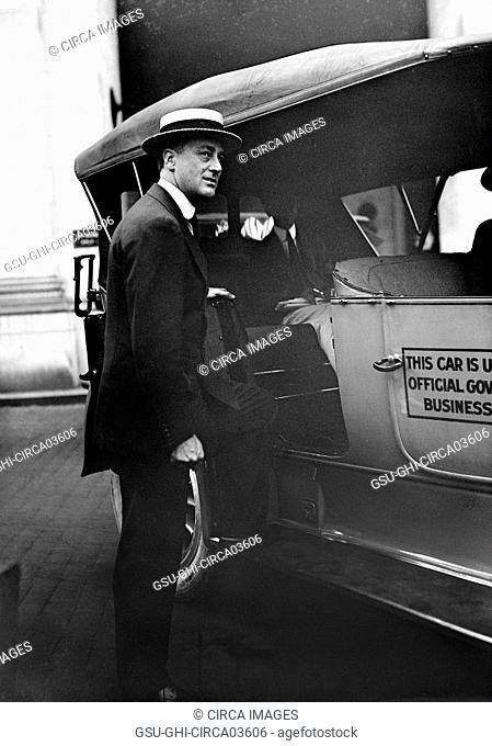 Franklin Roosevelt, Assistant Secretary of the Navy, Portrait getting into Car, Washington DC, USA, Harris & Ewing, 1915