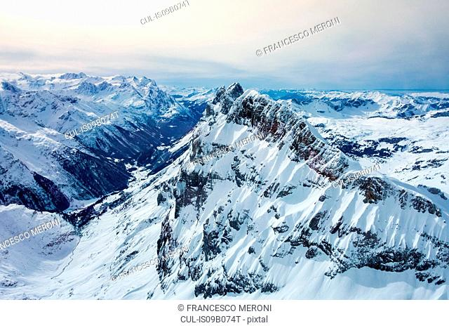 High angle snow covered landscape, Mount Titlis, Switzerland