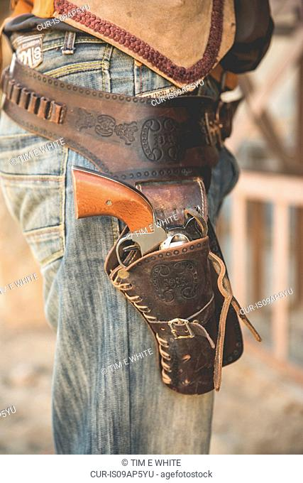 Cropped close up of cowboy holster on wild west film set, Fort Bravo, Tabernas, Almeria, Spain