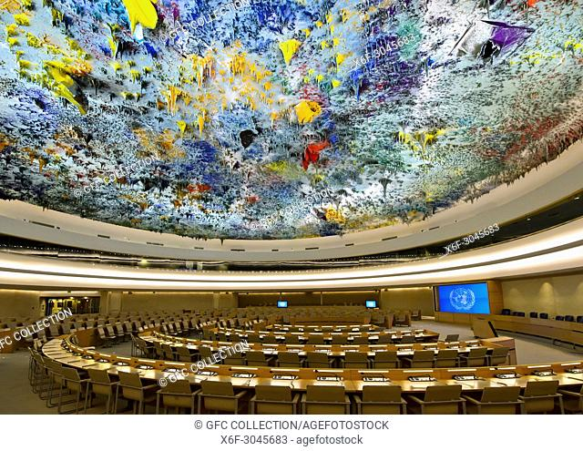 Human Rights and Alliance of Civilization Chamber with ceiling sculpture designed by Miquel Barceló, Palais des Nations, United Nations, Geneva, Switzerland
