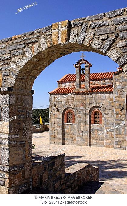Church, mountain village of Axos, Crete, Greece, Europe