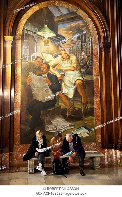 Mural by Edward Lanning depicting New York Tribune's Whitelaw Reid examining the first newspaper McGraw Rotunda in the New York Public Library, New York City