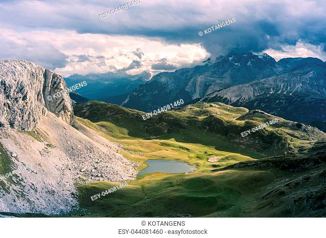 Scenic view of Italian Dolomites on sunny autumn day