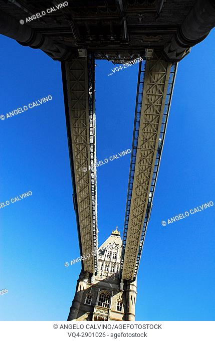 Bottom View of Tower Bridge with Unusual Aerial Perspective, London, United Kingdom, Europe