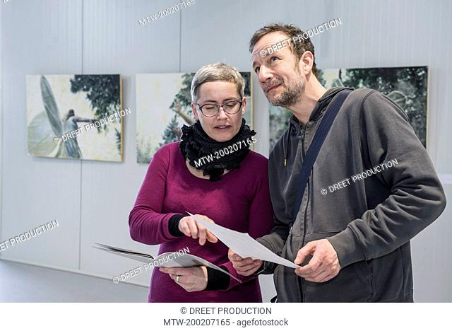 Visitors discussing about painting in an art gallery, Bavaria, Germany