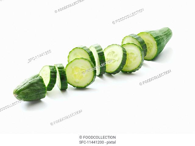 A sliced cucumber