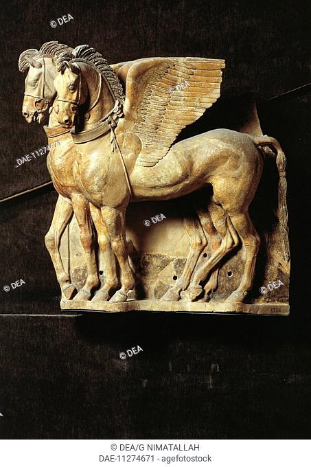 Etruscan civilization, 4th-3rd century b.C. Pair of winged horses. From the Ara della Regina (Altar of the Queen), Tarquinia, Latium region, Italy