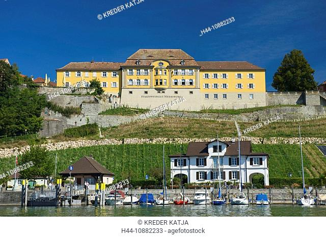 Baden-Wurttemberg, Lake of Constance, Germany, Meersburg, Baden-Wurttemberg, harbour, port, houses, homes, lake, wine cultivation