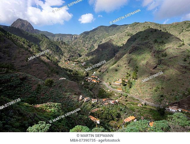 La Laja village, Barranco de las Lajas, behind the Roque de Ojila, municipality of San Sebastian, La Gomera, Canary Islands, Canaries, Spain