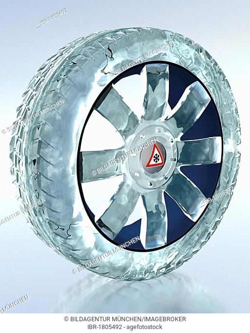 Car tyre made of ice, symbolic image for the mandatory use of winter tyres