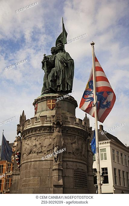 Statue of Jan Breydel and Pieter de Coninck, historical figures from Flanders' past on the Market Square in the city center, Bruges, West Flanders, Belgium