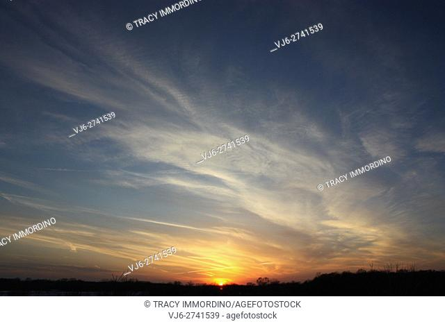 Sunset with cirrus clouds