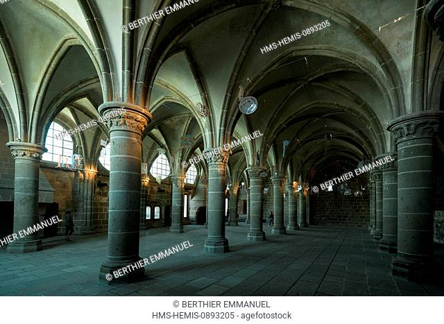 France, Manche, Bay of Mont Saint Michel, listed as World Heritage by UNESCO, Mont Saint Michel, La Merveille, room of the Knights in the cloister