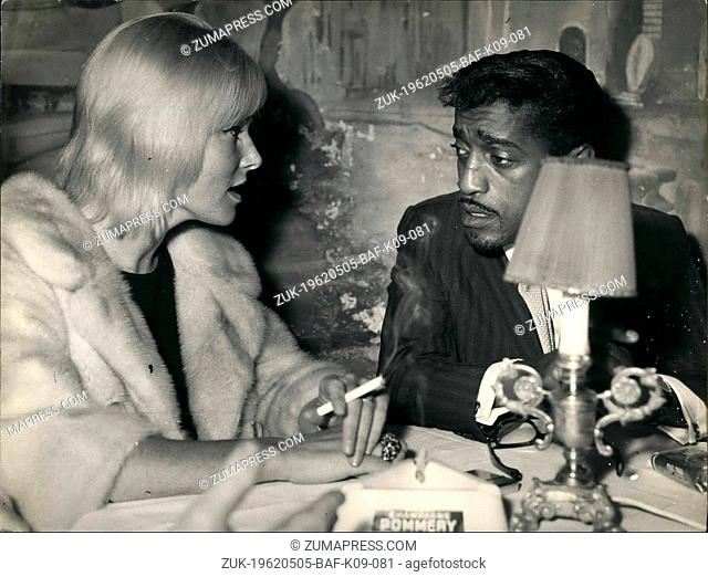 May 05, 1962 - This afternoon took place the press conference of American singer Sammy Davis who arrived with his wife, Sweden actress May Britt; the singer...