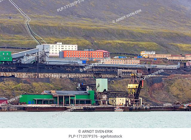 Coal mining buildings at Barentsburg, Russian coal mining settlement at Isfjorden, Spitsbergen / Svalbard, Norway