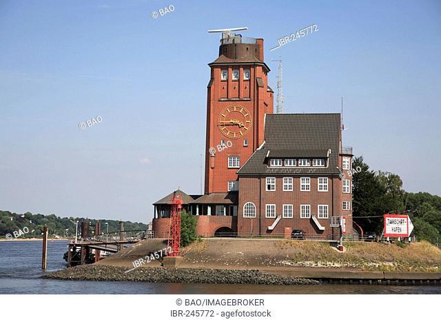 Pilot-house at river Elbe, Hamburg, Germany
