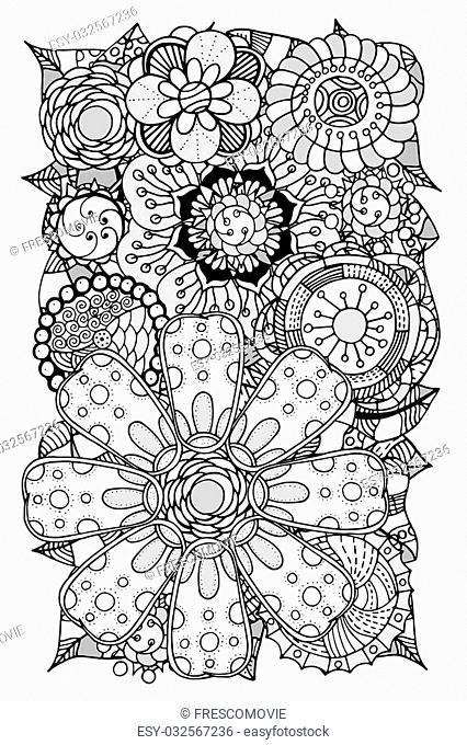 Ethnic floral zentangle, doodle background pattern circle in vector. Henna paisley mehndi doodles design tribal design element