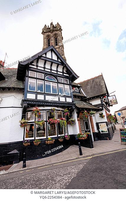 Very old Scottish pub, The Bridge Inn, in Peebles, Scotland