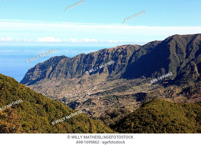 Encumeada Pass looking towards Sao Vicente at the North Coast of Madeira, Portugal, Europe