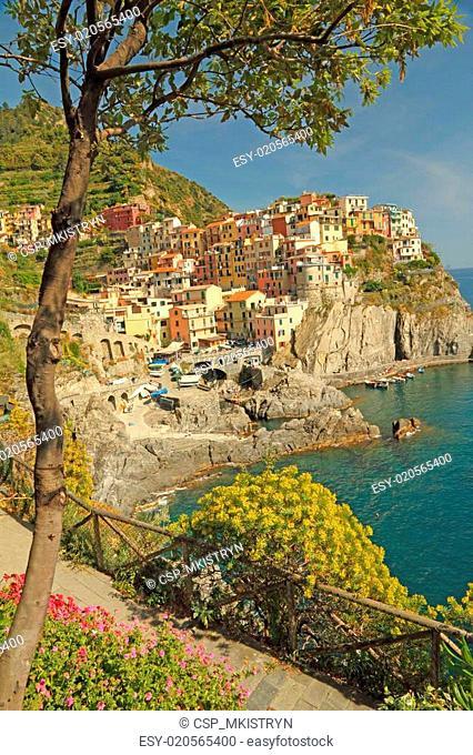beautiful italian marine village in Cinque Terre region, Manarola, Liguria, Italy, Europe