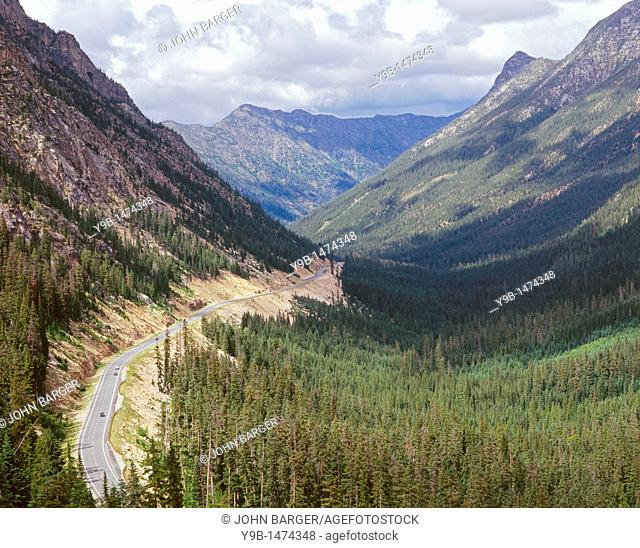 View east with Highway 20 descending from Washington Pass, Okanogan National Forest, northern Washington, USA