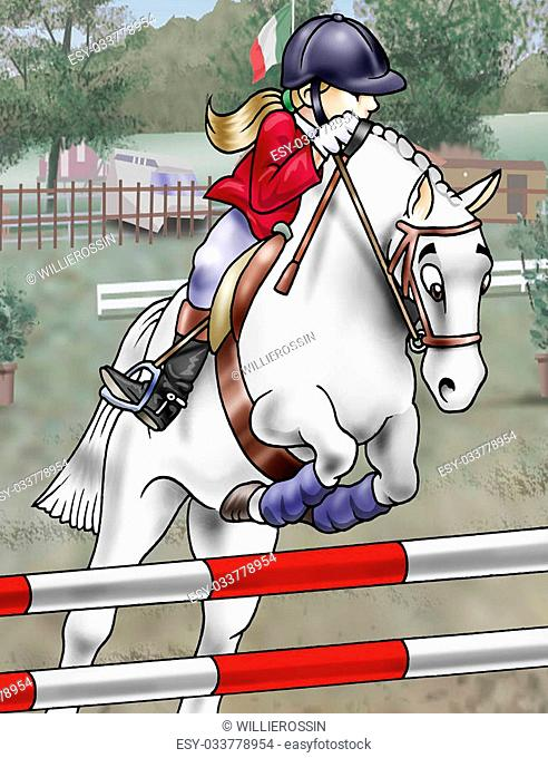 Artistic illustration of a girl and her horse jumping over an obstacle. Cartoon style