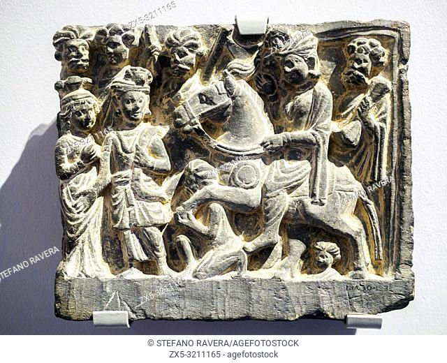 The Great Departure of the Buddha. 100-200. Ancient Gandhara. Pakistan. Schist