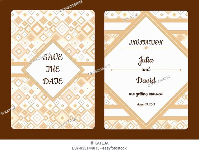 Vintage save the date or wedding invitation card collection