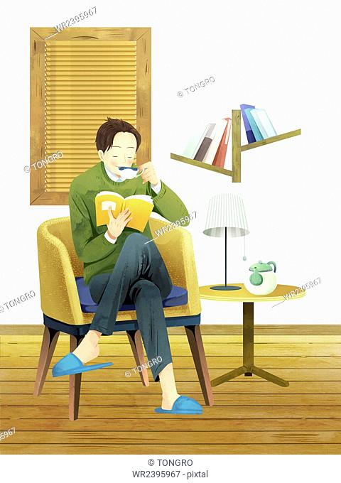 Man drinking a cup of tea and reading a book in watercolor illustration representing fall