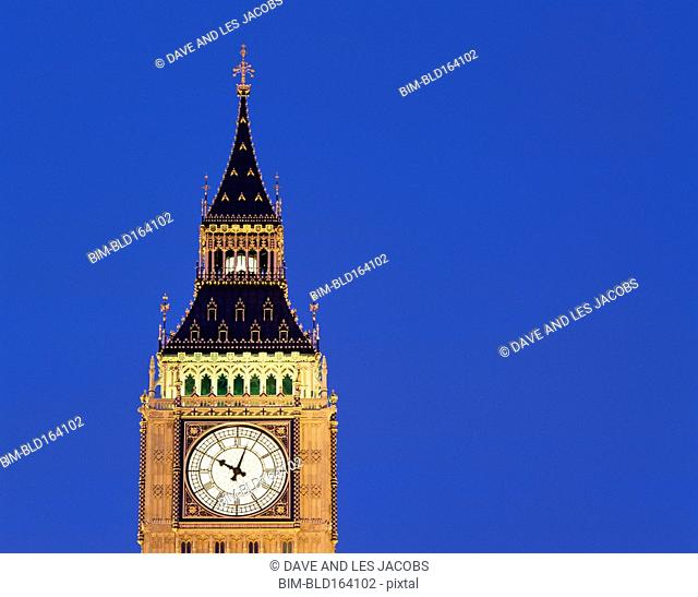 Close up of Big Ben clock tower under twilight sky, London, Middlesex, United Kingdom