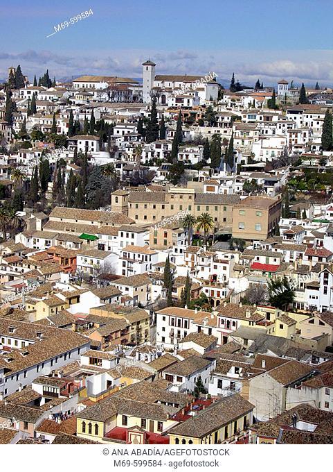San Nicolas church and Albaicín quarter, Granada. Andalusia, Spain