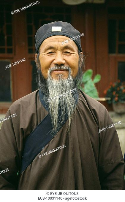 Head and shoulders portrait of Taoist, Daoist priest