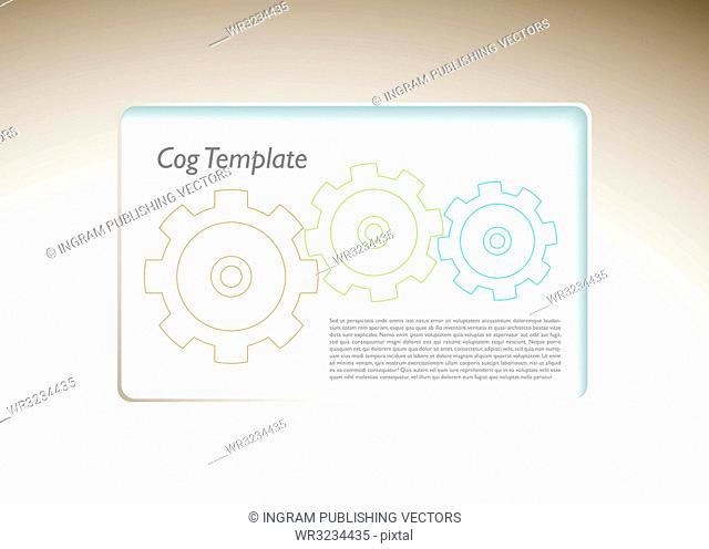 Modern business template background with machine cogs and copyspace
