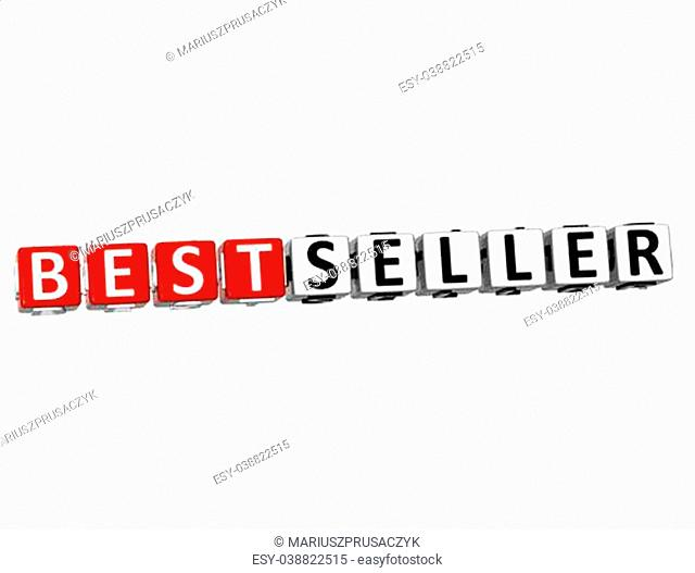 3D Best Seller Button Click Here Block Text over white background