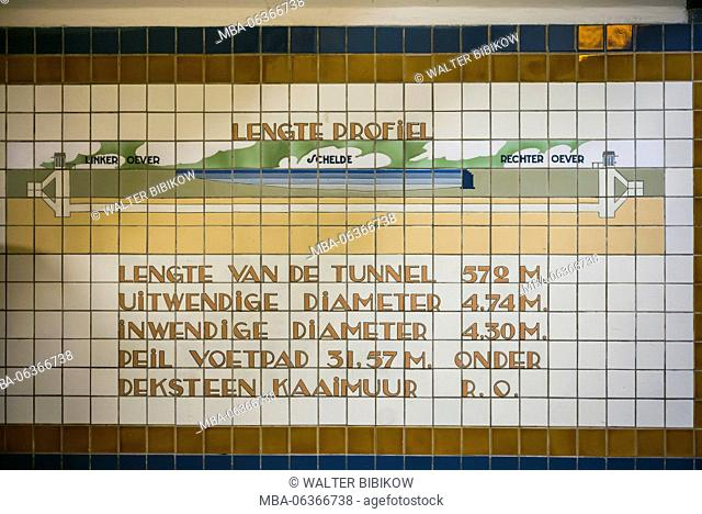 Belgium, Antwerp, St-Anna Tunnel, pedestrian tunnel under the Scheldt River, tiled sign