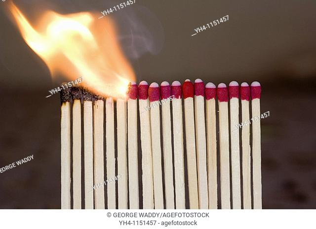 Burning matches, chain reaction