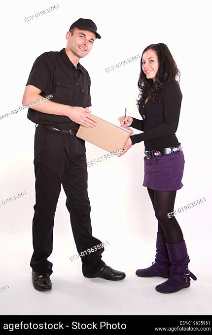 Girl receiving a package